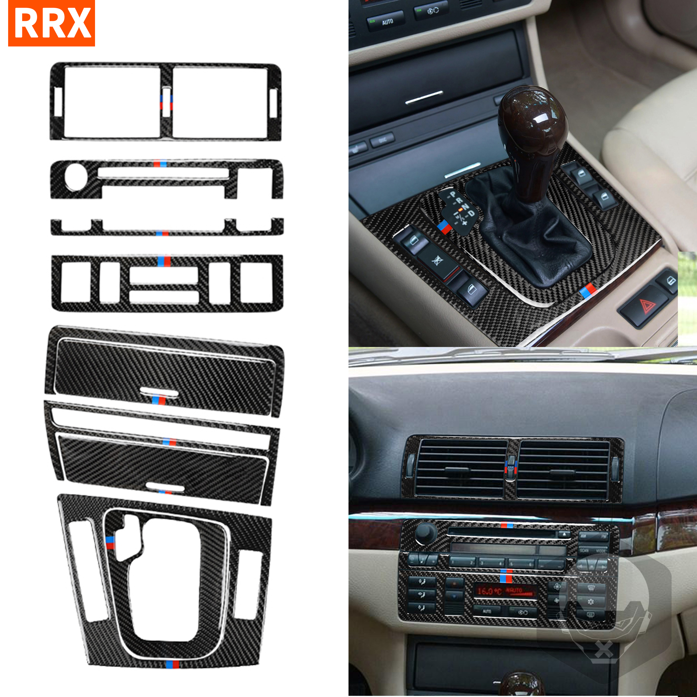 Pour BMW E46 1998-2004 3 série fibre de carbone intérieur voiture autocollants commande centrale CD panneau engrenage couverture garniture décalcomanies voiture accessoire