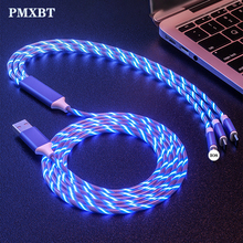 3in1 USB Type C Micro Lighting Cable for iPhone Samsung Charger LED Glow Flowing 1.2m Fast Charging Type-c
