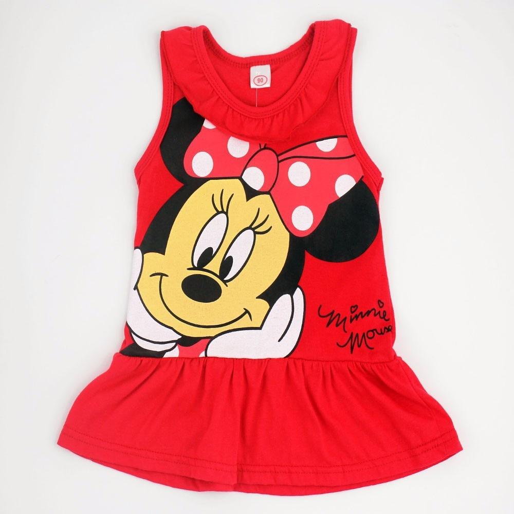 Disney princesa minnie vestido de verão crianças roupas algodão vestido sem mangas mini vestido menina do bebê curto mickey mouse
