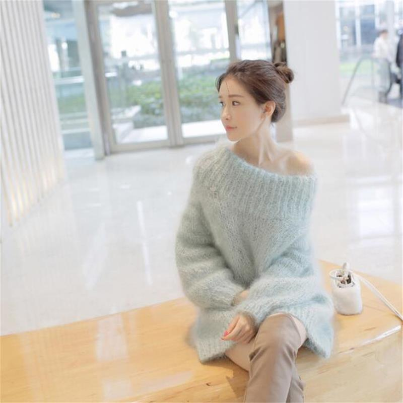 Korean fashion autumn winter thickened slash neck sweates pullovers sweet solid color casual femme knitwears