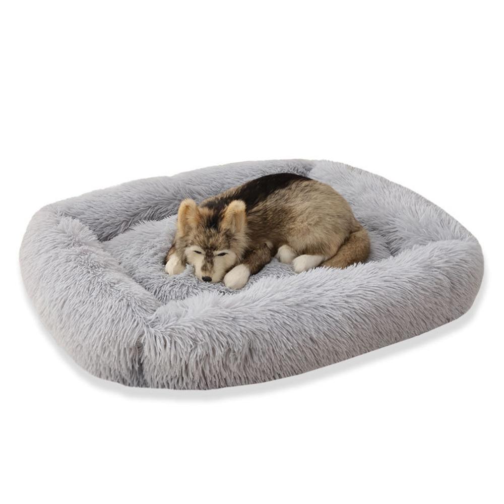 Мягкая квадратная кровать для собак моющаяся длинная плюшевая
