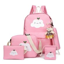 5pcs A Set Cute Backpack Student Shoulder School Bag Cartoon Middle Bags For Teenager Boy And Girl Women Rucksack