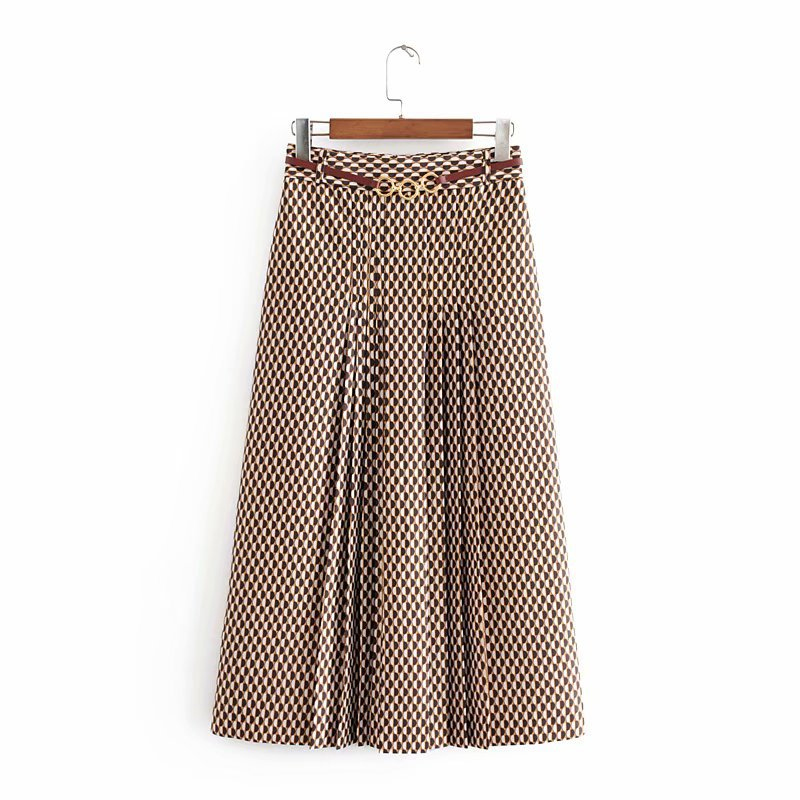 Oversized Women Fashion Skirts 2020 Autumn Geometric Print Midi Skirt Casual Vintage Office With Belt Ladies Long Skirts