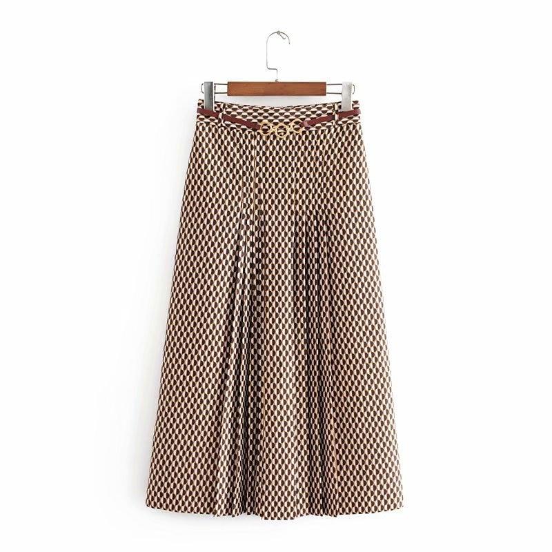 Oversized Women Fashion Skirts 2020 Autumn Geometric Print Midi Skirt Casual Vintage Office With Belt Ladies Long Skirts