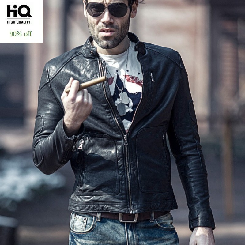 Men Motorcycle Biker Genuine Leather Jacket Brand Spring Autumn Slim Sheepskin Short Coat Casual Stand Collar Outwear Plus Size