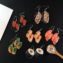 Drop-Earrings Ice-Cream Acrylic Harajuku-Style Women Food Doughnut Salmon Sushi Girl