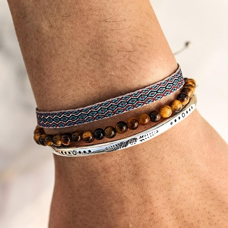 Tibetan Buddha Lucky Knot Rope Bracelet On Hand Bohemian Brown Tiger Eye Beads Handmade Carve Silver Plated Men's bracelets