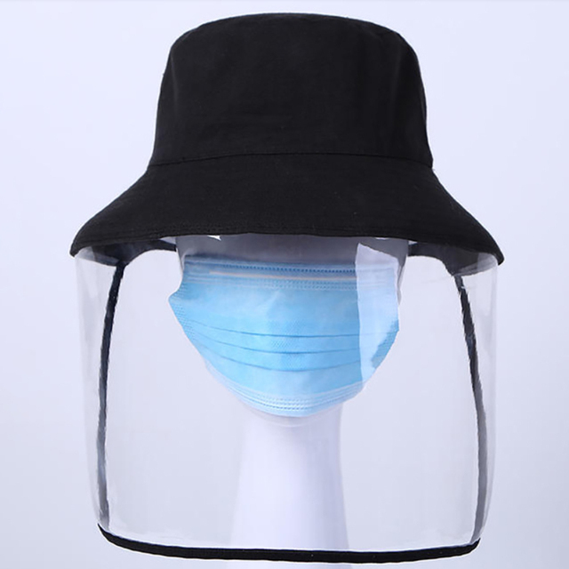 mascherine Anti-Saliva Dual-use Hat Protective Face Shield Cover Hat Anti Spitting Saliva Drool Fisherman Cap with Clear Facia 2