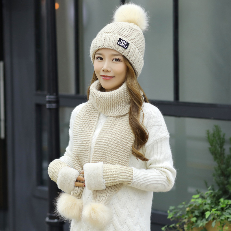 HT2669 Women Winter Hat Scarf Gloves Set Thick Warm Winter Accessory Lady Knitted Hat Scarf Gloves Windproof Fur Pompoms Beanies