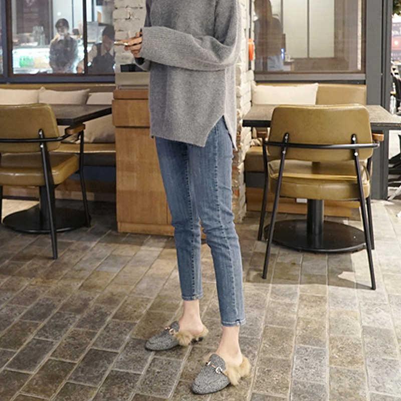 Dikker plus fluwelen jeans vrouwen winter nieuwe hoge taille Korea stretch dunne met fluwelen warm buiten dragen vrouwen voeten broek