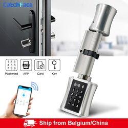 Умный цилиндрический замок Bluetooh, безключевой электронный дверной замок, приложение, Wi-Fi, цифровой код, RFID, карта, замок для дома, квартиры, ...