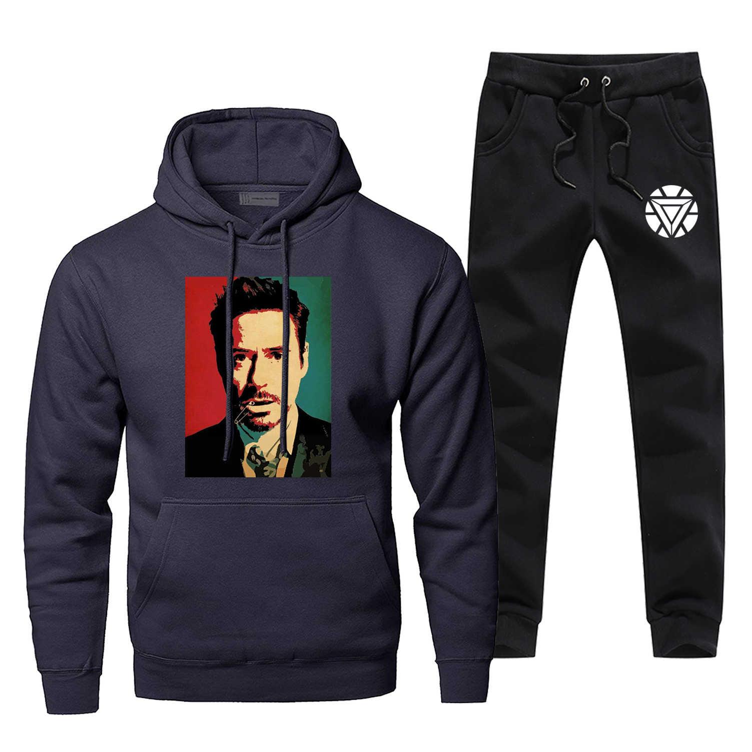 Tony Stark estampado moda Balck hombres conjuntos Super Hero Fleece hombres traje completo chándal Iron Man Casual pantalones sudadera