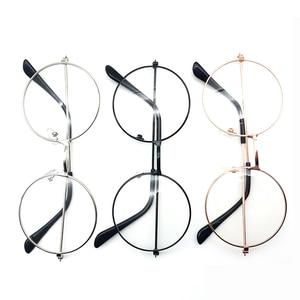 3 Colors Man Woman Retro Large Round Glasses Transparent Metal eyeglass frame Black Silver Gold spectacles Eyeglasses