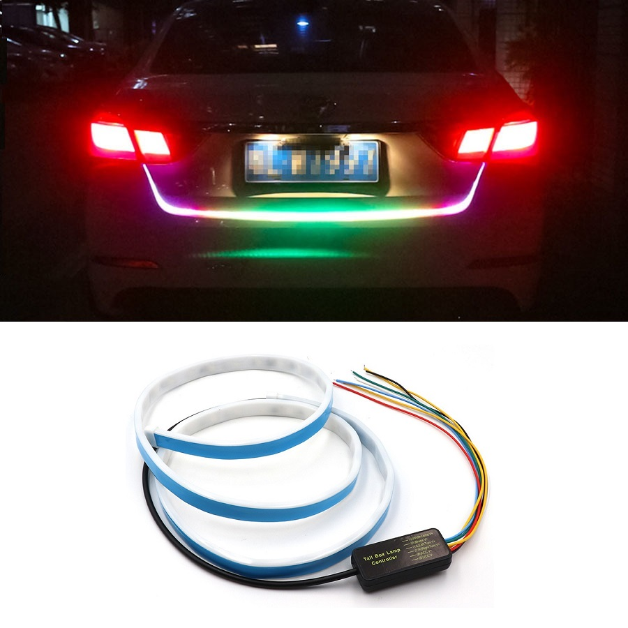 EURS 120cm LED Dynamic Streamer Turn Signal Tail Box Trunk Lights LED Strip Car Styling LED Warning
