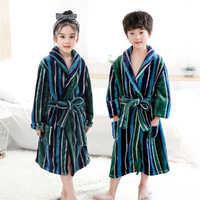 Albornoz de franela para niños y niñas, ropa de dormir con capucha de oso, vestido de bebé, ropa de invierno, 4-14T, novedad
