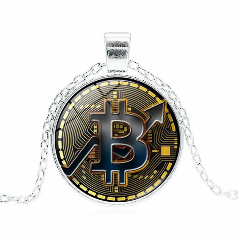 Necklace Product Bitcoin Mark Time Gem Glass Pendant Sweater Chain Simple and Elegant Delicate Accessories Charm Poprlar Fashion