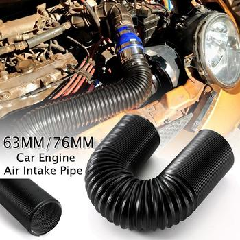 1M 63/76mm Car Engine Flexible Air hose Air Intake Pipe Inlet Hose Tube Car Air Filter Intake Cold Air Ducting Feed Hose Pipe car air filter 76mm 3 inch high flow car cold air intake filter aluminum non woven fabric rustproof air intake hose universal