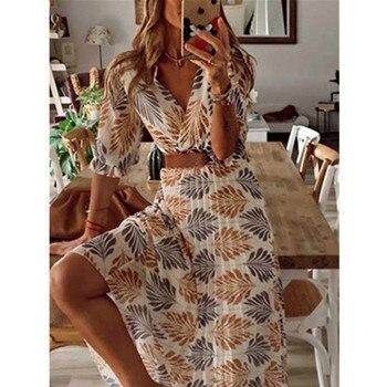Женское свободное платье, повседневное пляжное Длинное свободное платье с v-образным вырезом и принтом, для отдыха, на лето и весну
