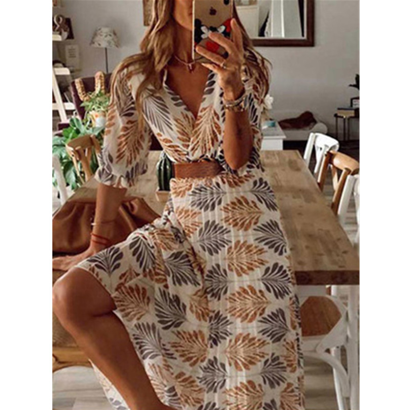 Dress Women Summer Spring New V-neck Printed Folded Holiday Long Swing Dress Women's Casual Beach Sexy Loose Ladies Dress