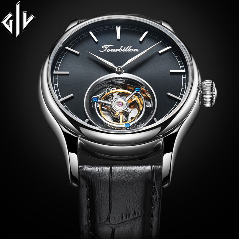 Tourbillon Watch Men GIV Mechanical Hand Wind Sapphire Mens Watches Top Brand Luxury Clock Men Relogio Masculino
