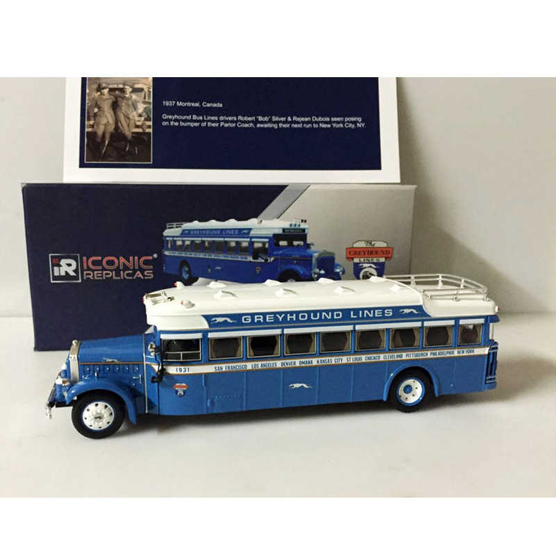 1:50  Stegna 1931 CORGI IRIZAR Sightseeing Bus Greyhound Bus Line Toy Model Alloy Die-casting Model Collection Indoor Display