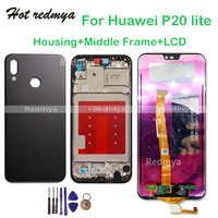 LCD With Frame For Huawei P20 Lite/ Nova 3E LCD Display Touch Screen Digitizer Assembly P20 Lite Back Housing Battery Cover+Tool