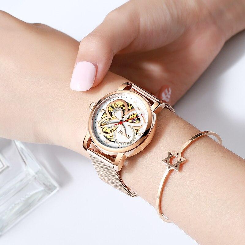 HAIQIN Ladies Dress Watches Women Watches Top Brand Luxury Sport Wrist Watch Mechanical Watch Fashion Leather Relogio Feminino