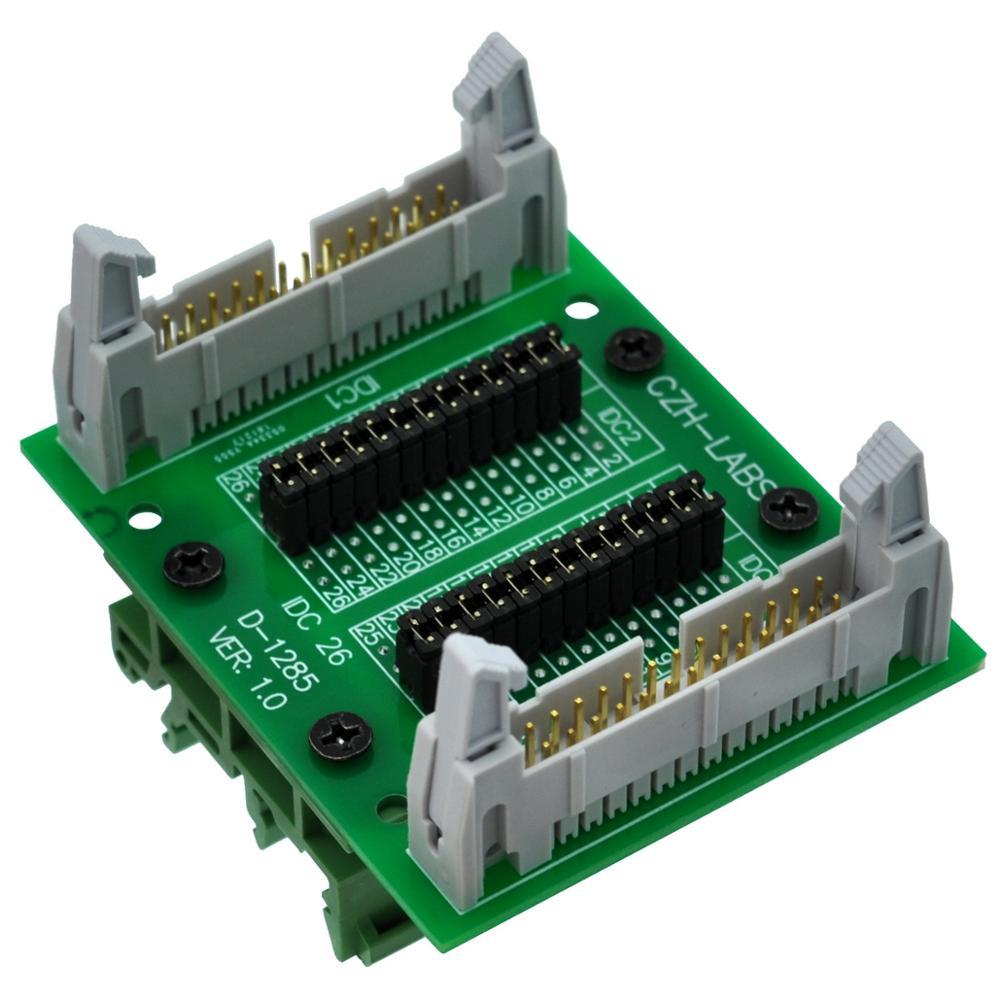 "CZH-LABS DIN Rail Mount IDC26 2x13Pin 0.1"" Pitch(2.54mm) Header Diagnostic Test Breakout Board."