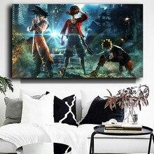 Póster de personajes de Anime japoneses clásicos, pintura en lienzo, pósteres de Goku, Naruto, Luffy, impresiones en arte de pared, cuadro para decoración de dormitorio, Cuadros