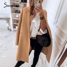 Simplee Elegant light tan autumn winter women coat Office lady long sleeve windproof wool coat New fashion windbreaker 2020