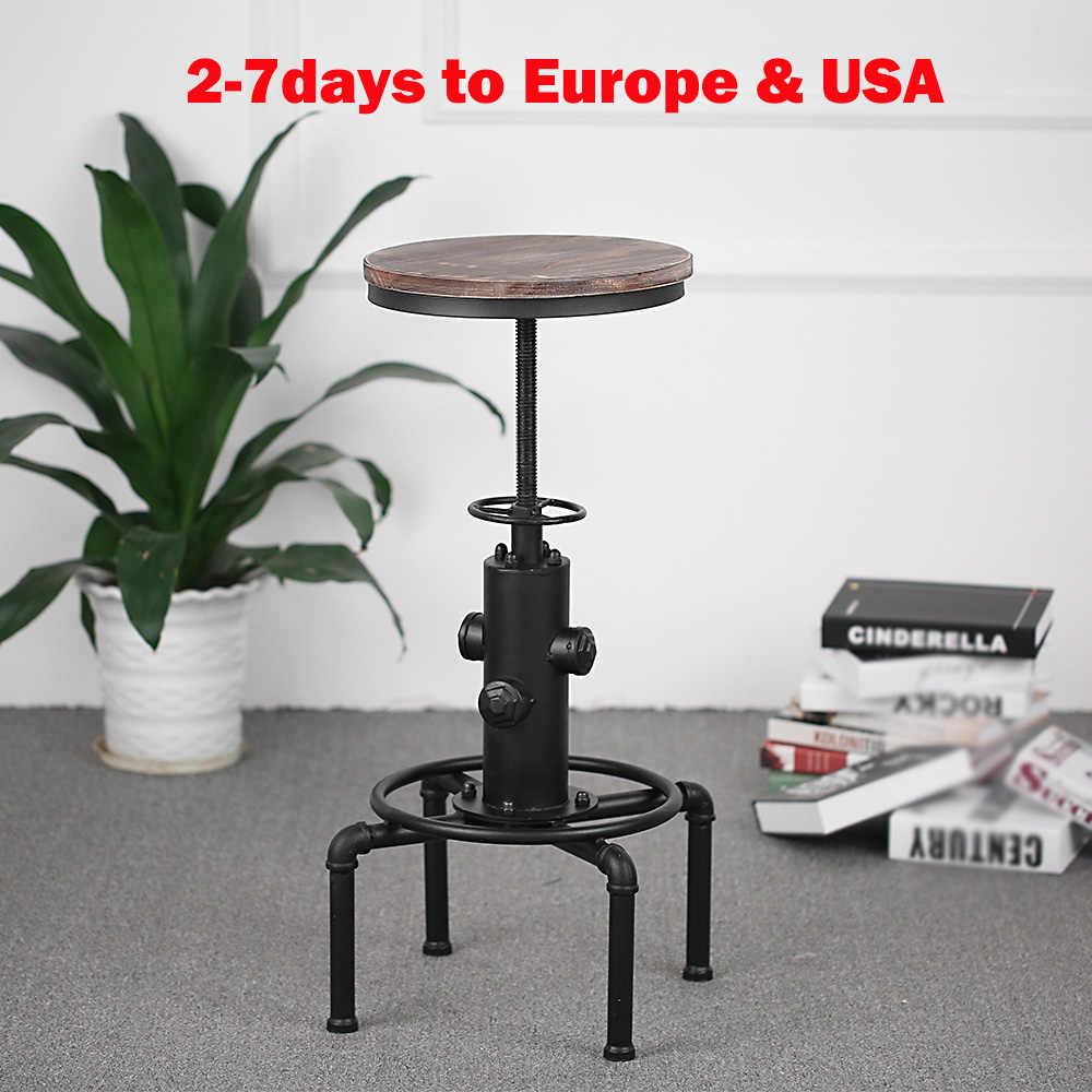 IKayaa Металлические Промышленные барные стулья, регулируемая высота, Вертлюг, сосновый верх, кухонный обеденный стул, стиль трубы, барный стул, барные стулья