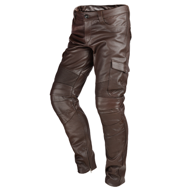 2020 Black Men American Style Motorcycle Leather Trousers Plus Size 4XL Genuine Thick Cowhide Biker's Pants FREE SHIPPING 3