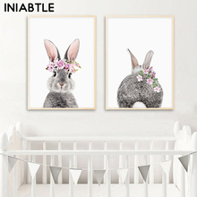 Bunny Rabbit Tail Wall Art Picture Flower Animal Canvas Poster Nursery Print Minimalist Painting Nordic Kids Baby Room Decor black white baby animal rabbit tail canvas art print and poster nursery bunny canvas painting for kids room nordic wall decor