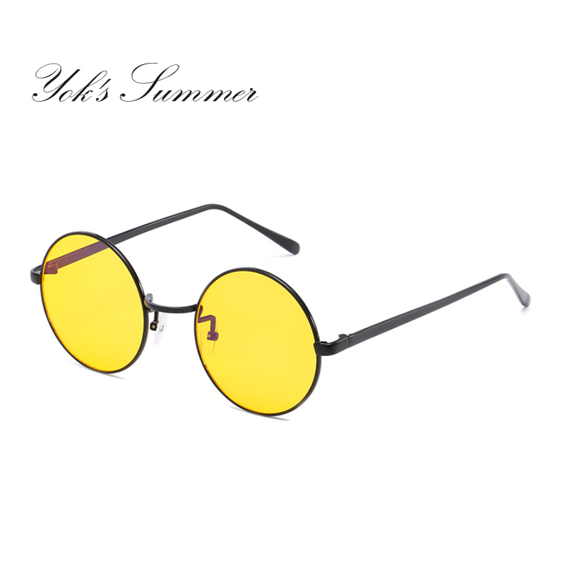YOK'S Night Driving Yellow Sunglasses Anti Glare Vision Driver Glasses Round John Lennon Hipster Circular Eyewear Gafas UL993
