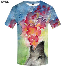KYKU Wolf T-shirt Men Graffiti Funny T shirts Animal Tshirt Printed Colorful T-shirts 3d Art Tshirts Casual Mens Clothing
