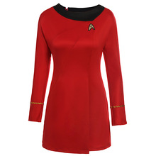 2018 autumn and winter new womens personality Star Trek chest embroidery long-sleeved dress cosplay red blue