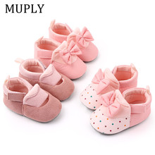 Cartoon Baby Shoes Cute Newborn Boys Girls First Walkers Flats Soft Sole Non-slip Shoes Footwear Toddler Booties cheap MUPLY CN(Origin) Leather Shallow Spring Autumn Hook Loop polka dot Baby Girl Cork Fits true to size take your normal size