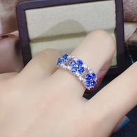 Fashion Row Flower Clover Natural blue Sri Lanka sapphire ring S925 silver natural gemstone ring girl women party gift jewelry