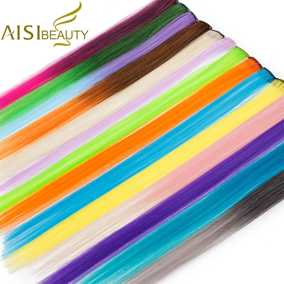 AISI BEAUTY Long Straight Rainbow Hair Extensions Clip In One Piece Highlight Ombre Pink Grey Synthetic Hair Strands On Clips