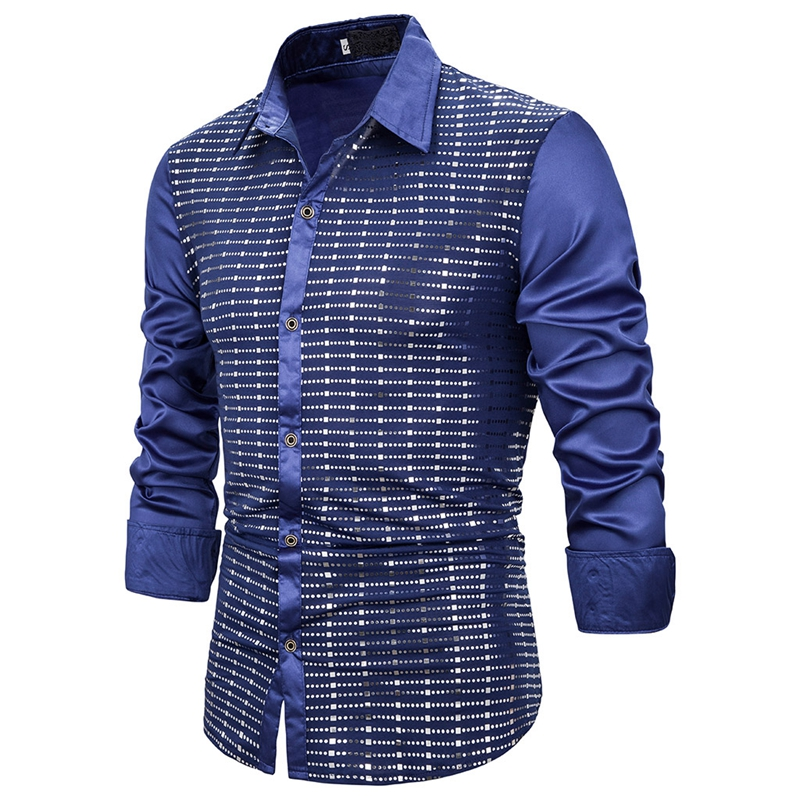 CYSINCOS  Sequin Glitter Embellished Shirt Men Sexy Through Shirt For Male Nightclub Stage Prom Dance Chemise