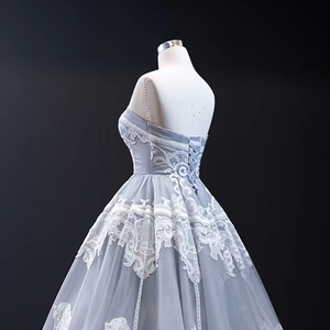 Image 5 - J66970 Jancember Grijs Avondjurk 2020 Strapless Mouwloze Applicaties Tiered Party Dress Abiti Da Cerimonia Vestidos De Noite