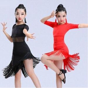 Image 4 - 새 여자 라틴 댄스 드레스 프린지 라틴 댄스 옷 키즈 경쟁 살사 의상 블랙 레드 아이 볼룸 탱고 드레스