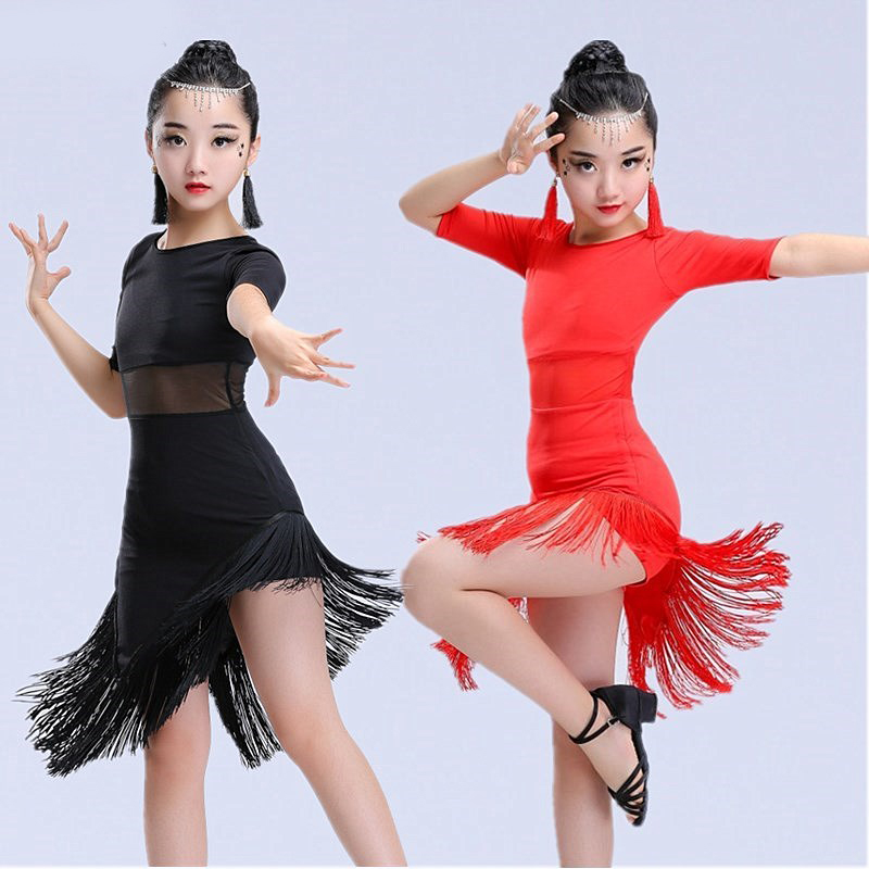 Image 4 - New Girls Latin Dance Dress Fringe Latin Dance Clothes Kids Competition Salsa Costume Black Red Child Ballroom Tango Dresses-in Latin from Novelty & Special Use