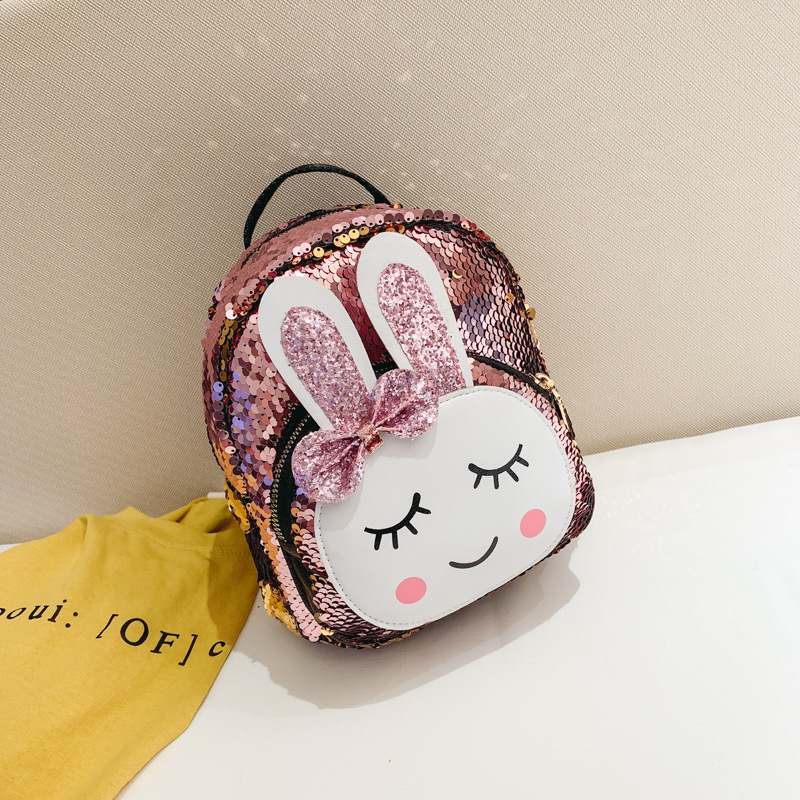 Fashion Children School Bag  Babbit Bag Faux Leather + Sequins Backpack Girl High Quality Travel Backpack Rucksack Zipper