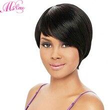 Ludzki włos peruki z grzywką peruka z grzywką ludzki włos krótki brazylijski włosy peruki prosto Ombre włosy blond kolor Remy Ms miłość