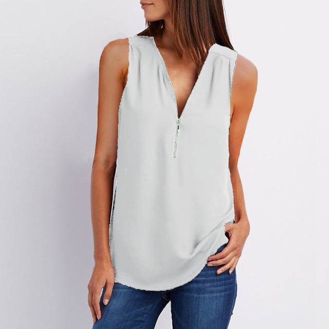 Female Casual Summer Top Shirt Ladies V Neck Zipper Loose Tee Tops Women's Solid Zip Up Top Vestidos Mujer Verano Blouse