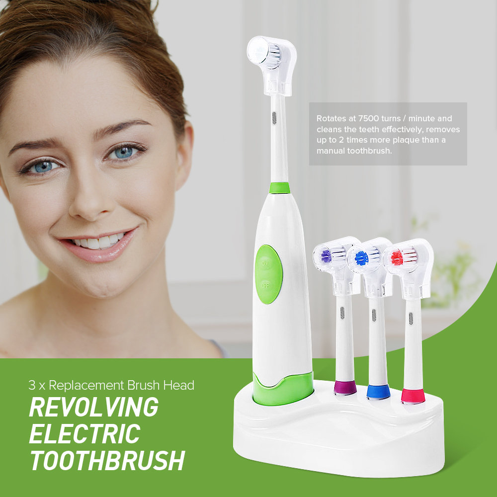 1 Set New Design Battery Operated Electric Toothbrush Waterproof Dental Care Revolving Toothbrush Heads + 3 Nozzles Oral Hygiene image