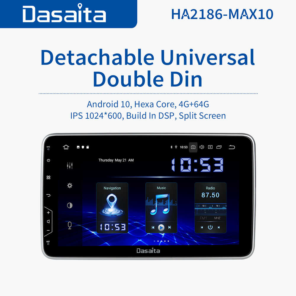 "Dasaita 10.2 ""IPS Layar 2 Din Mobil Radio Android 10 DSP Universal Mobil Auto Stereo Multimedia Bluetooth GPS Navigasi HDMI"