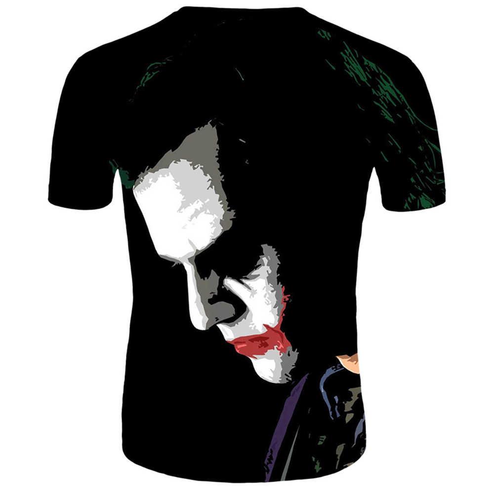 새로운 3d 인쇄 광대 인쇄 t 셔츠 남성 짧은 소매 공포 t-셔츠 광대 멋진 탑 티 재미 여름 하라주쿠 남성 t-셔츠