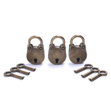 3 Pcs/set 37x23mm Metal Old Vintage Style Mini Padlock Small Luggage Box Suitcase Copper Color With Key Free Shipping